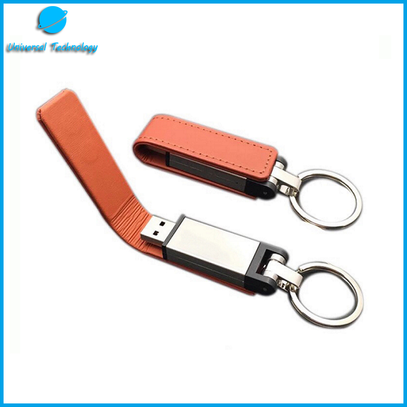 【UNT-U16】Business style clamshell leather usb flash drive