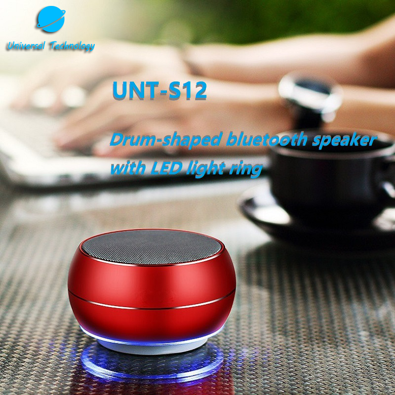 【UNT-S12】Drum-shaped Bluetooth Speaker With LED Light Ring
