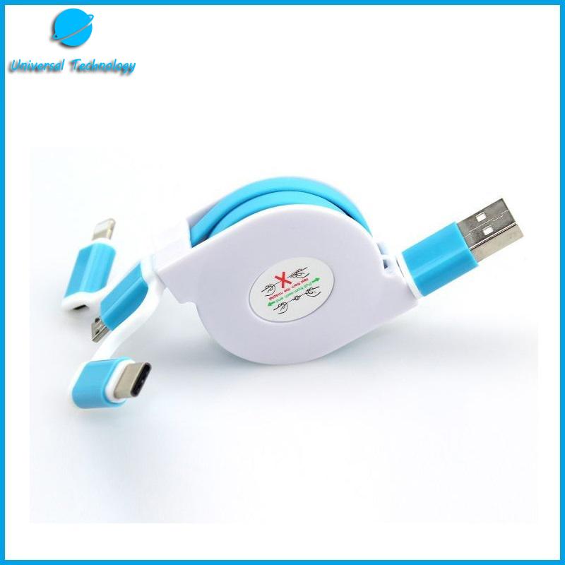 【UNT-C03】3 in 1 telescopic USB cable