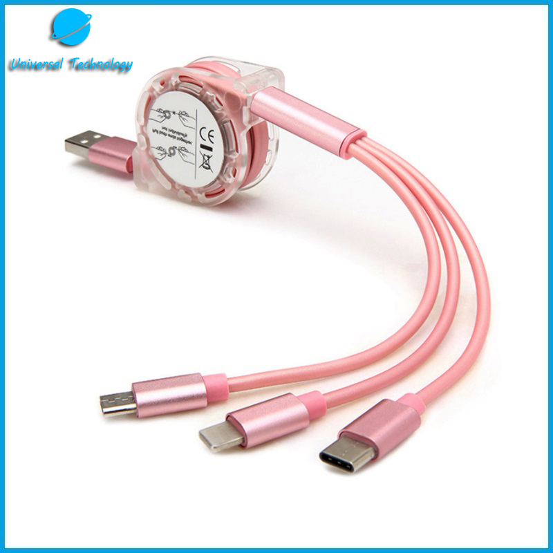【UNT-C07】 The hot 3 in 1 telescopic USB cable