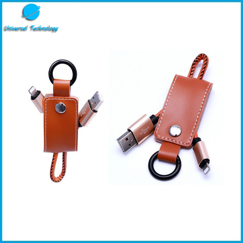 【UNT-C17】3 in 1 leather keychain USB cable